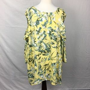 Catherines Yellow Floral Print Cold Shoulder Top
